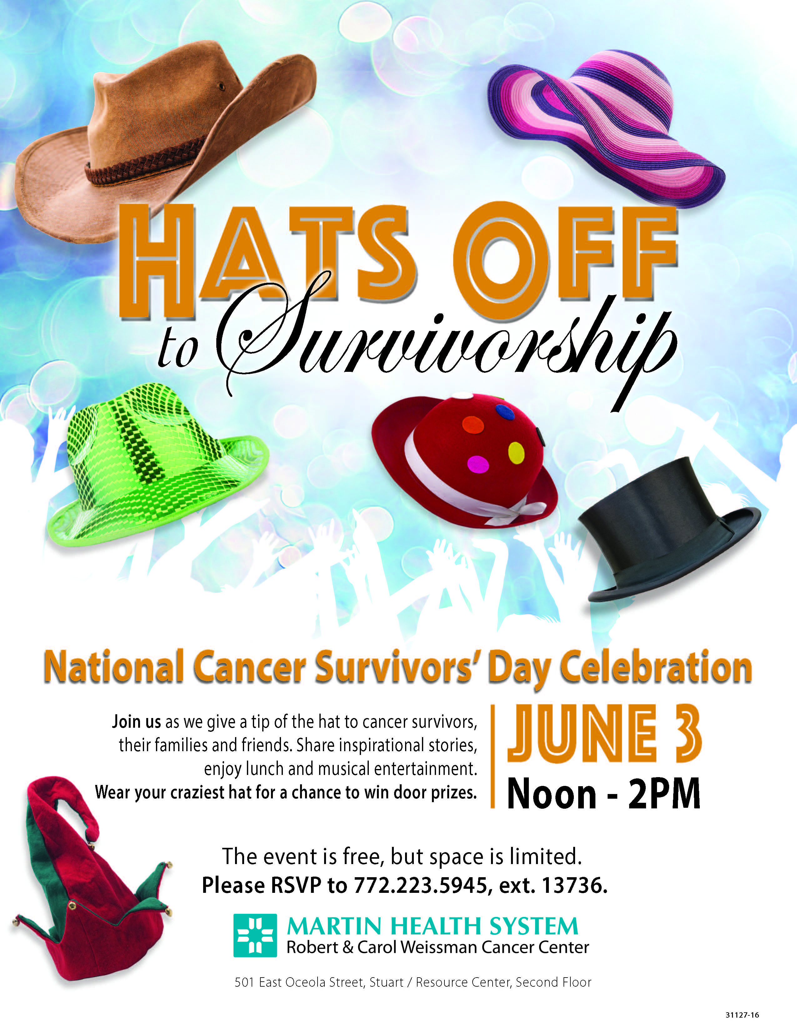 Martin health celebrates national cancer survivors day with a tip hats off to survivorship nvjuhfo Choice Image